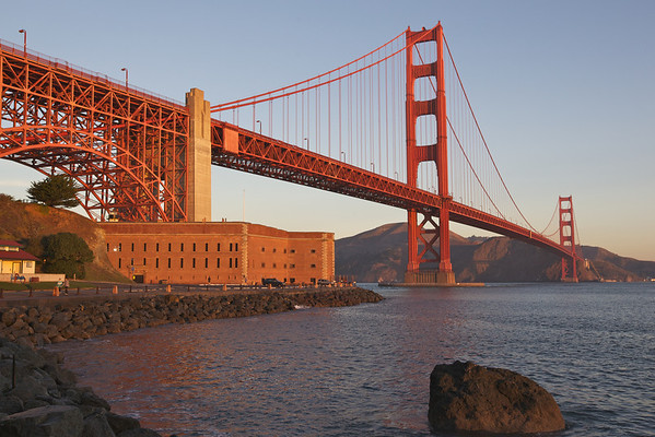 The Golden Gate Bridge bathed in morning light.