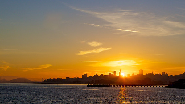 Sun rises over San Francisco